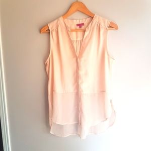 Sheer Pink/Cream Blouse Tunic
